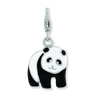 Sterling Silver Enameled Panda Bear With Lobster Clasp Charm - 2.6 Grams