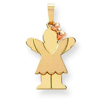 14k Two-Tone Gold Small Girl with Bow on Right Engraveable Charm
