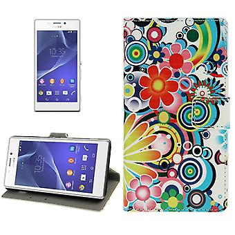Mobile case bag for mobile phone Sony Xperia M2 motif of colorful flowers