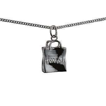 Silver 17x12mm Harrod's Bag Pendant with a curb Chain 18 inches