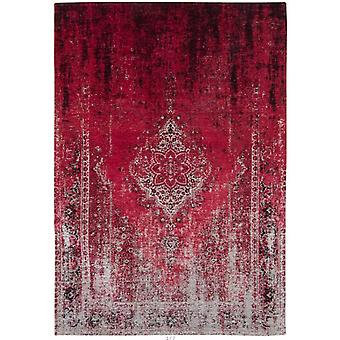 Distressed Raspberry Cream Medallion Flatweave Rug 60 x 90 - Louis de Poortere