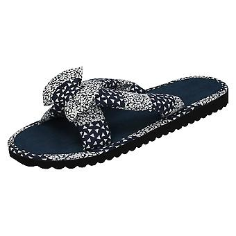Womens Spot On Cross Strap Mules Samantha