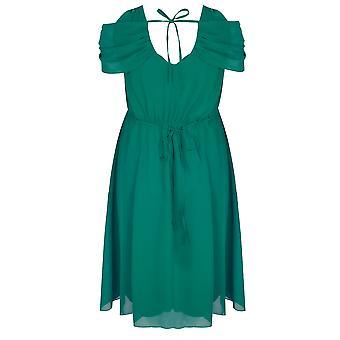 SCARLETT & JO Green Chiffon Wrap Midi Dress