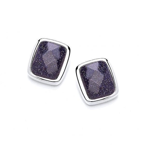 Cavendish French Little Squares of Blue Sandstone Earrings