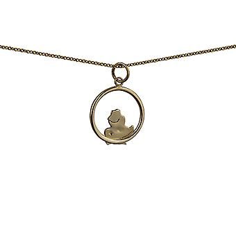 9ct Gold 18x19mm Frog in a circle Pendant with a cable Chain 20 inches