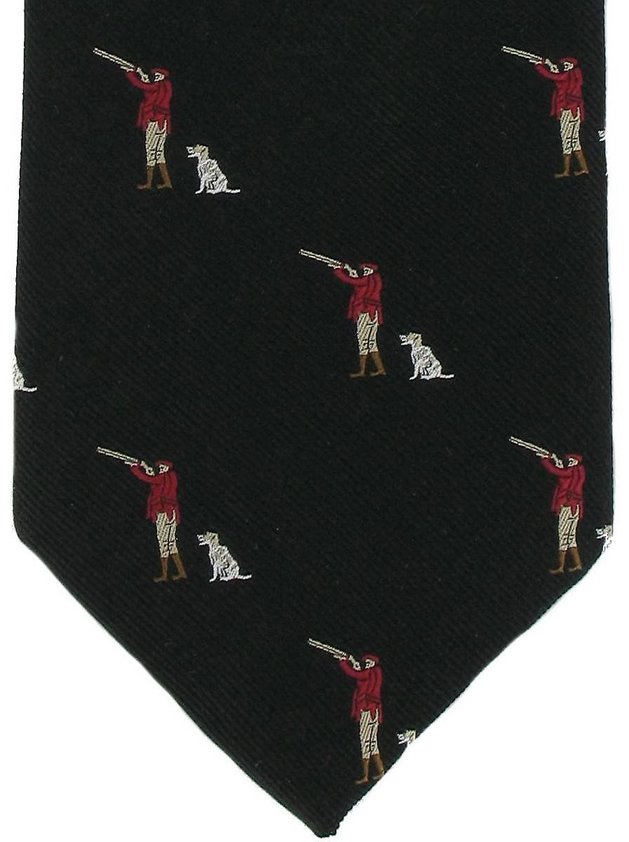 Michelsons of London Gun Man & Gun Dog Silk Tie - Black