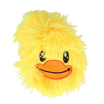 Children's 9 Inch Inflatable Neon Yellow Smiley Duck Face Furry Ball With Eyes