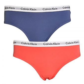 Calvin Klein Girls 2 Pack Modern Cotton Bikini Brief, Calypso Coral / Coastal Fjord, X-Large