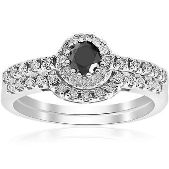 7/8 ct パヴェ、黒いハロー ダイヤモンド ヴィンテージ婚約結婚指輪セット 14 k ホワイトゴールド
