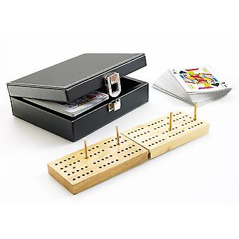 Traditional Cribbage Set in Black Faux Leather Case - G356