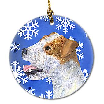 Jack Russell Terrier Winter Snowflakes Holiday Christmas Ceramic Ornament