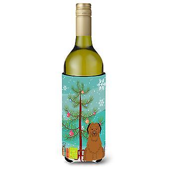 Merry Christmas Tree Briard Brown Wine Bottle Beverge Insulator Hugger