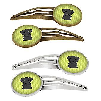 Scacchiera calce verde Labrador nero Set di 4 clip di capelli Barrettes