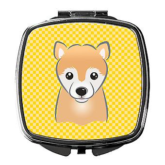 Carolines Treasures  BB1133SCM Yellow Checkered Shiba Inu Compact Mirror