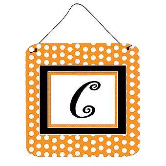 حرف C مونوغرام الأولية-أورانج بولكادوتس الجدار أو الباب معلقة يطبع