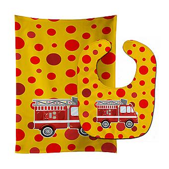 Carolines skatter BB6998STBU brannmann Firetruck Baby Bib & Burp klut