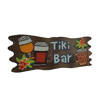 Hand Carved Hand Painted Wooden Tiki Bar Wall Sign