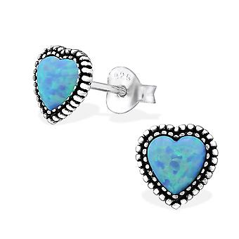 Heart - 925 Sterling Silver Opal And Semi Precious Ear Studs - W29347x