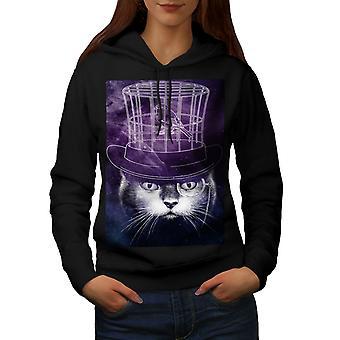 Hat Mind Bird Cage Cat Women BlackHoodie | Wellcoda