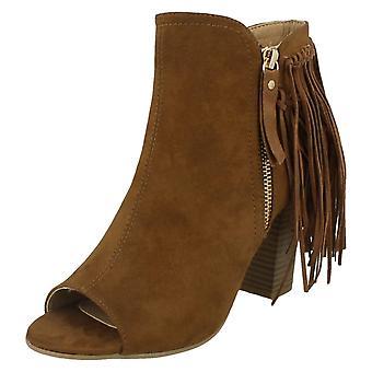 Kære plet på Zip op ankelstøvler med kvast detaljer