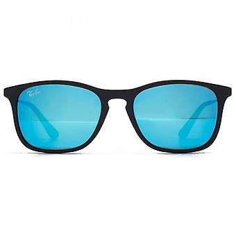 Ray-Ban Junior Keyhole Square Sunglasses In Matte Black Blue Mirror