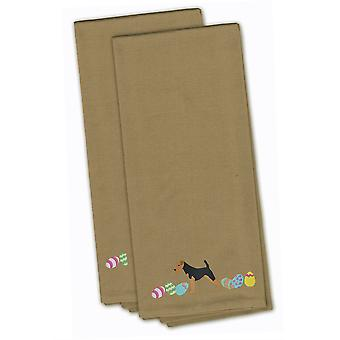 Airedale Terrier Easter Tan Embroidered Kitchen Towel Set of 2