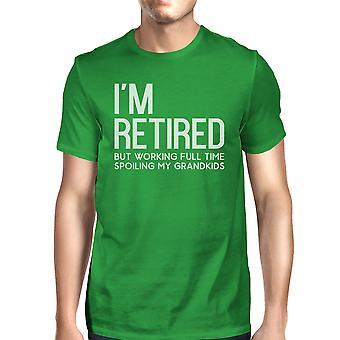 Retired Grandkids Mens Green Lovely Grandpa Fathers Day Tee T-Shirt