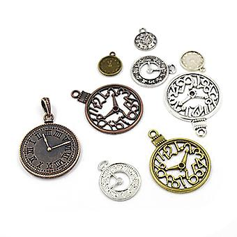 Packet 30 Grams Multicolour Tibetan 5-40mm Clock Charm/Pendant Mix HA06710