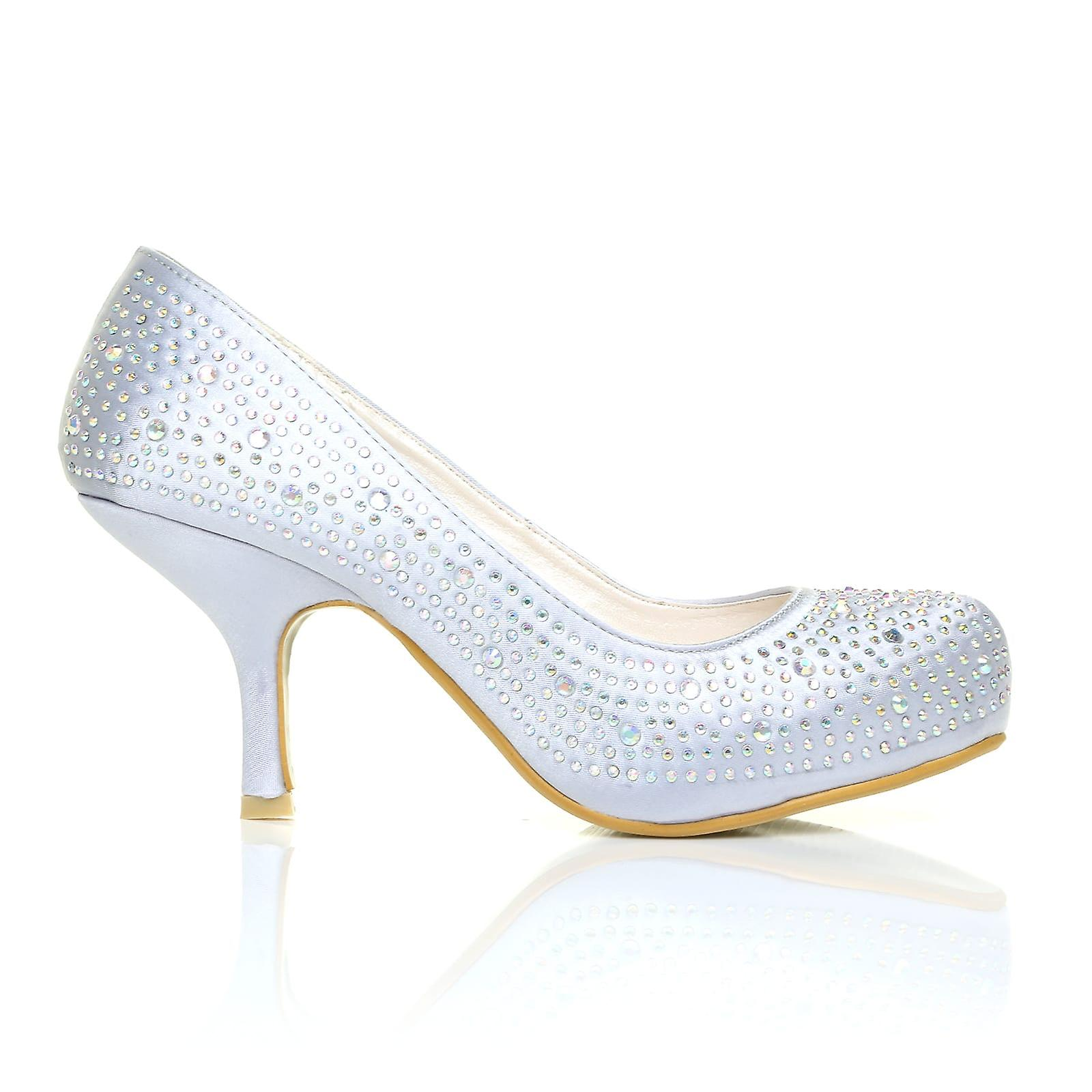 ANNIE Silver Satin Kitten Mid Shoes Heel Diamante Evening Court Shoes Mid 22ac56