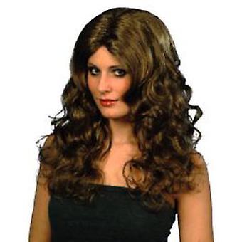 Glamour peruk - brun långa lockar (antal 1)