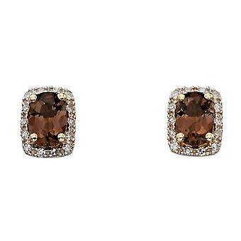 Elements Gold Smoky Quartz and Diamond Cluster Earrings - Brown