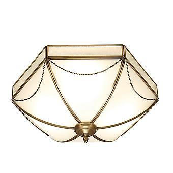Interiör 1900 Russell romersk stil brons och vit Tiffany Flush taklampa