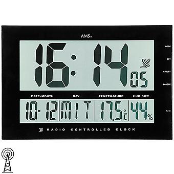 AMS wall clock digital clock black display time date temperature humidity + alarm