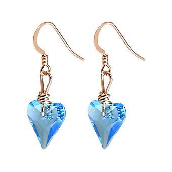 Damen - Ohrringe - Rose Vergoldet - Herz - Blau - 2 cm