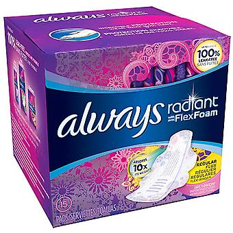 Always radiant infinity pads with wings, regular, 15 ea