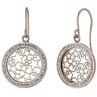 Earrings star star stainless steel rose gold color coated with crystals