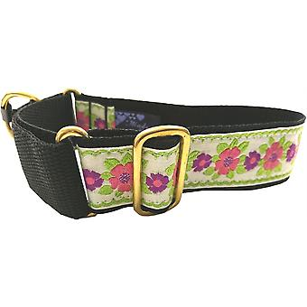 Dogcrafts Martingale 40mm Pink & Lime Green Floral Jacquard Ribbon Brass Dog Collar