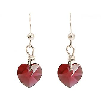 Ladies earrings 925 Silver heart red MADE WITH SWAROVSKI ELEMENTS® 2.5 cm