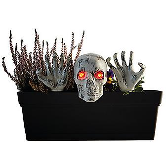 Halloween Gartendeko plantenbak met schedel en handen decoratie