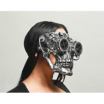 Steamskully Metallic Finish Steampunk Skull with Spiked Goggles Mask