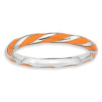 Sterling Silver polerat rodium-plated vridna Orange emaljerad 2.4 x 2,0 mm stapelbar Ring - Ring storlek: 5 till 10