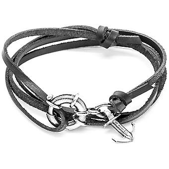 Anchor and Crew Clyde Silver and Leather Bracelet - Coal Black