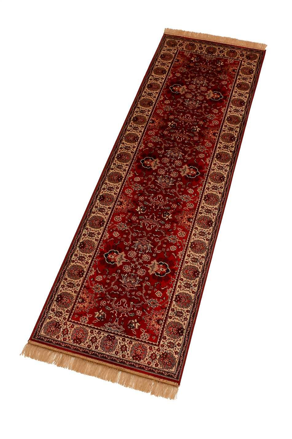 Red Indian Agra Artificial Faux Silk Effect Hall Runner Rugs 4620/12