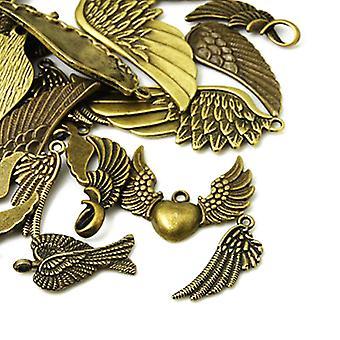 Pakke 30 gram antikk bronse tibetanske 5-40mm Wing sjarm/anheng blanding HA07030