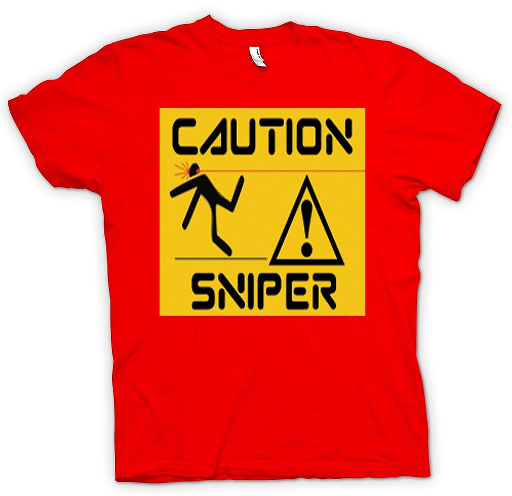 Mens T-shirt - Caution - Sniper Warning Sign