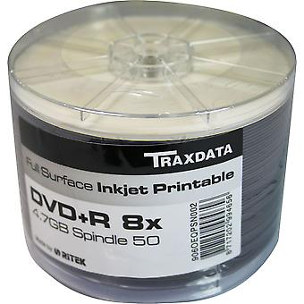 Twin Pack (100 DVDs) DVD-R 8X TRAXDATA FF White Full Face Inkjet Printable Blank Discs Recordable (50 Spindle x2)