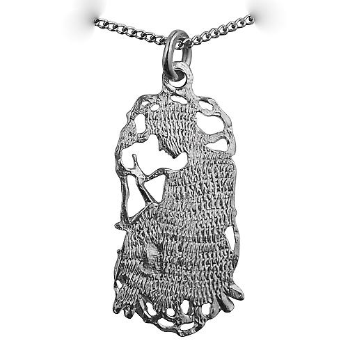 Silver 33x17mm Capricorn Zodiac Pendant with a curb Chain 22 inches