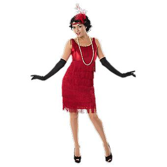 Womens 20s Red Flapper Girl Gangster Moll Gatsby Chicago Fancy Dress Costume