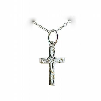 Silver 15x9mm hand engraved solid block Cross with a rolo Chain 24 inches