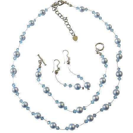 Blue Pearls Aquamarine Crystals Wedding Jewelry Swarovski Pearls Set